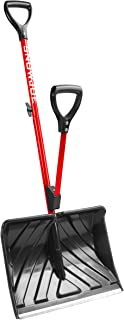 Snow Joe SJ-SHLV01-RED Shovelution Strain-Reducing Snow Shovel   18-Inch   Spring Assisted Handle (Red)
