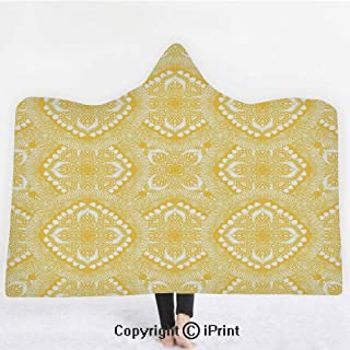 "Yellow Mandala 3D Print Soft Hooded Blanket Boys Girls Premium Throw Blanket,Oriental Doily Napkin Motifs Featured Asian Decorative Elements Curves,Lightweight Microfiber(Kids 50""x60"")Yellow and White"