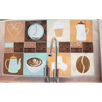 "BACKSPLASH STICKER // WALL DECALl Kitchen Decor 30/"" x 18/"" COFFEE BREAK"