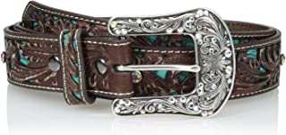 Women's Turquoise Inlay Floral Bling Belt