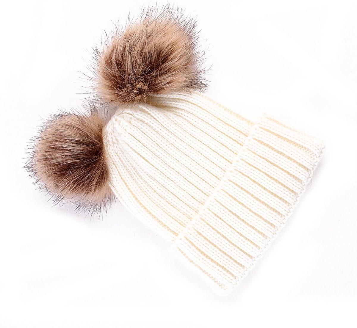 Tabpole Women Kid Warm Winter hat Knit Wool Beanie Fur Pom Bobble Crochet Cap