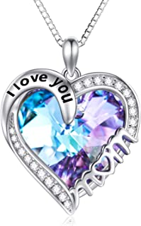 TOUPOP s925 Sterling Silver Mom Pendant Necklace Jewelry Gifts for Women Mom Mother Grandma Birthday