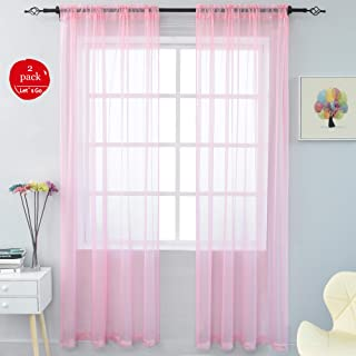 KEQIAOSUOCAI 2 Pieces Solid Color Sheer Rod Pocket Curtains Panels for Bedroom Living Room Girls Room Pink 52Wx84L Set of 2