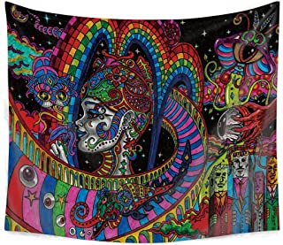 Qchengsan Psychedelic Tapestry,Abstract Unusual Figure with Color and Form Details Hippie Arabesque Retro Pattern, Wall Hanging for Bedroom Living Room Dorm