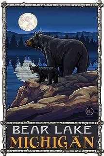 "Bear Lake Michigan Bear Lake Moon Forest Giclee Art Print Poster from Original Travel Artwork by Artist Paul A. Lanquist 12"" x 18"""