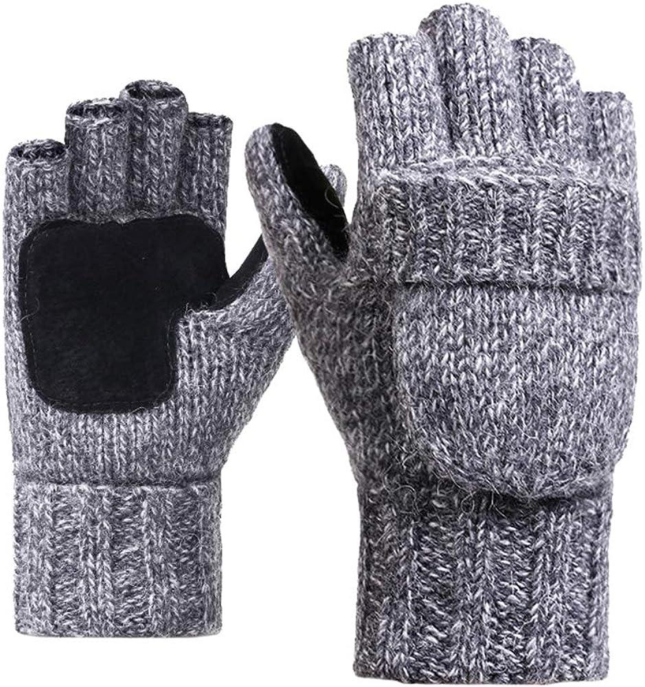 Tennessee526 Unisex Winter Warm Gloves Winter Unisex Warm Outdoor Riding Knitted Gloves Half Finger Flip Top Mittens