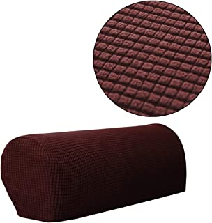 Jacalee Spandex Stretch Fabric Armrest Covers Anti-Slip Furniture Protector Sofa Armchair Slipcovers for Recliner Sofa Set of 2 (Dark Brown)