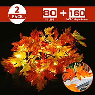 MZD8391 2Pack Thanksgiving Halloween Decorations, Total 29.4Ft 80 LED Maple String Lights Battery Operated Fairy Fall Autumn Garland (Warm White)