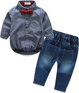 Kimocat Baby Boy Fashion Cute Gentleman Clothing Set Long Sleeve Bowtie+Denim Pant