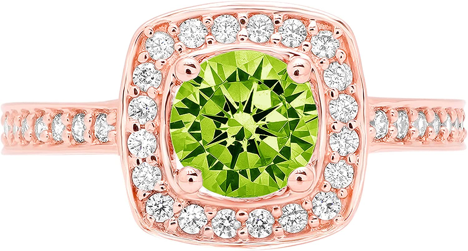 Clara Pucci 1.46 Brilliant Round Cut Halo Solitaire Stunning Genuine Flawless Natural Green Peridot Gem Designer Modern Accent Ring Solid 18K Rose Gold