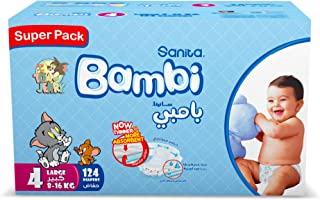 Sanita Bambi Baby Diapers Super Pack, Size 4, Large, 8-16 kg, 124 Count