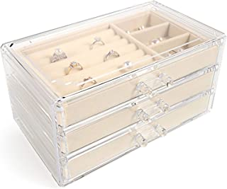 V-HANVER Jewelry Boxes for Women with 3 Drawers, Velvet Jewelry Organizer for Earring Bangle Bracelet Necklace and Rings S...