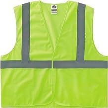 Ergodyne - Colete refletivo de segurança 20977 GloWear 8205HL, malha de limão de alta visibilidade, tipo R classe 2, fecho...