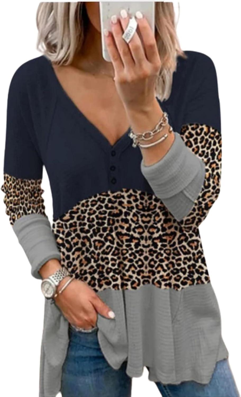 Avanova Women's Waffle Knit Long Sleeve Button V Neck Casual Blouse T Shirt