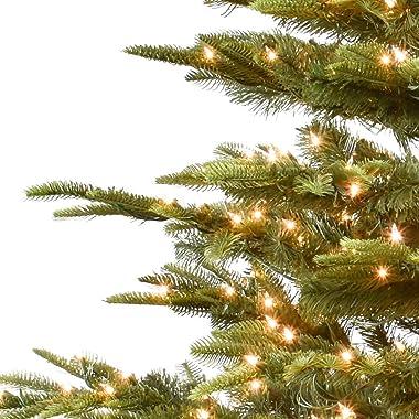 Puleo International 7.5 Foot Pre-Lit Aspen Fir Artificial Christmas Tree with 700 UL Listed Clear Lights Green