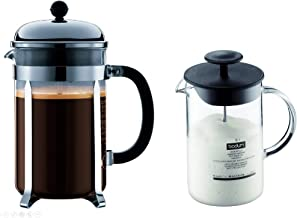Bodum Chambord French Press Coffee Maker, 51 Ounce, 1.5 Liter, Chrome And Latteo Glass Milk Frother with Handle and Black Lid, 8 Ounce, Set