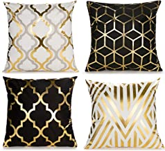 Home Decorative Set of 4 Throw Pillow Covers Gold Foil Geometric Pillow Covers 18 ×18..