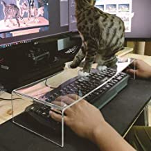 L&QQ Clear Acrylic Keyboard Cover Protector Anti-Cat,2 in 1 Keyboard Bridge Protector and Monitor Stand