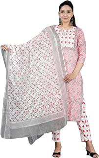 Indian Formal Jaipuri hand Block Printed Gota Straight Kurti Pant Dupatta Set Woman Kurta JPK