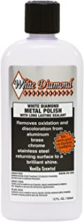 White Diamond Metal Polish with Long Lasting Sealant, 12 fl oz is a Cleaner, Polisher and protectant All in one. Removes Oxidation and Discoloration from Aluminum, Brass, Chrome and Many Other Metals