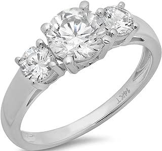 1.4 CT Round Cut Solitaire Three Stone Ring 14K White Gold Anniversary Engagement Wedding Band