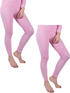 Women's 2 Pack Long Thermal Fleece Cotton Legging Pants
