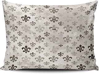 WULIHUA Pillow Covers Vintage Silver Grey Fleur Sofa Modern Pillow Case Decorative Throw Pillow Cases One Side Printed Boudoir 12x16 Inches