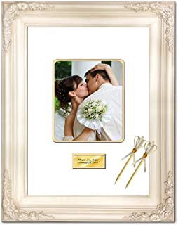 Signature Mat Picture Frame White Inner Gold Matted Retirement Wedding Guest Wishes Autograph 8x10 Round Corner 20x24 Elite White Milan Raised 3D Floral Personalized Gold Engraved Plate