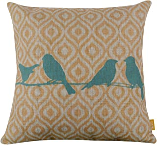 LINKWELL 18x18 inches Forest Bird Yellow Ikat Geometry Burlap Pillow Cover