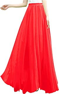 e64cfb02781b13 v28 Women Full/Ankle Length Elastic Pleated Retro Maxi Chiffon Long Skirt