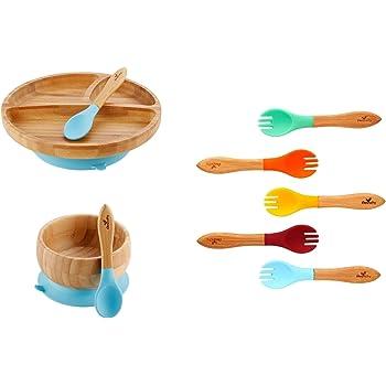 Bowl y Plato con ventosa Set alimentaci/ón Cuchara y Babero Aprendizaje BLW AMTBABY Vajilla silicona Beb/é Verde