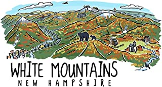 White Mountains, New Hampshire - Line Drawing - Fall Version (9x12 Art Print, Wall Decor Travel Poster)