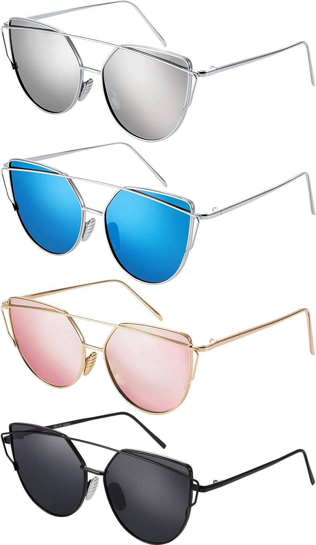 Gejoy 4 Pairs Cat Eye Mirrored Flat Lenses Sunglasses Metal Frame Fashion Sunglasses for Women Men, 4 colors