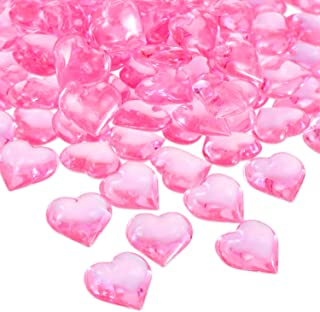 Tatuo 160 Pieces Acrylic Heart Decoration Valentine's Day Heart Ornaments for Vase Fillers and Table Scatter, 0.9 Inch (Pink)