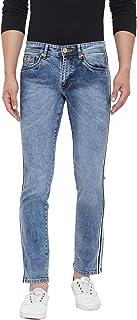 KROSSSTITCH Men Side Stripe Stitching Could Wash Denim Jeans  Slim Fit Design   Light Blue