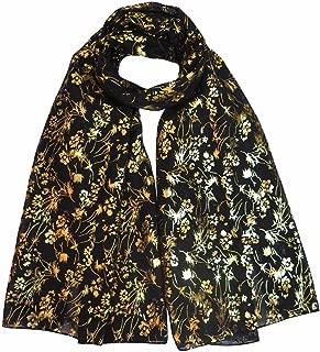 Lina & Lily Gold Glitter Floral Pattern Scarf Shawl Hijab