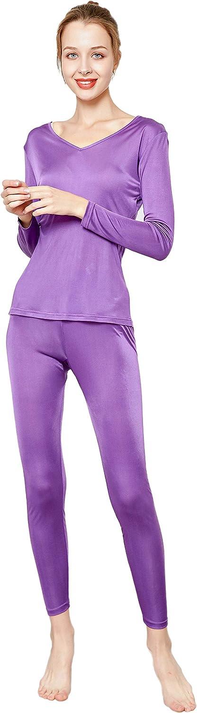 CLC Women's Mulberry Silk Knitted Thermal Underwear Pajama Set