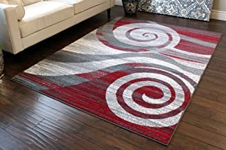 Masada Rugs, Stephanie Collection Area Rug Modern Contemporary Design 1103 Red Grey White..
