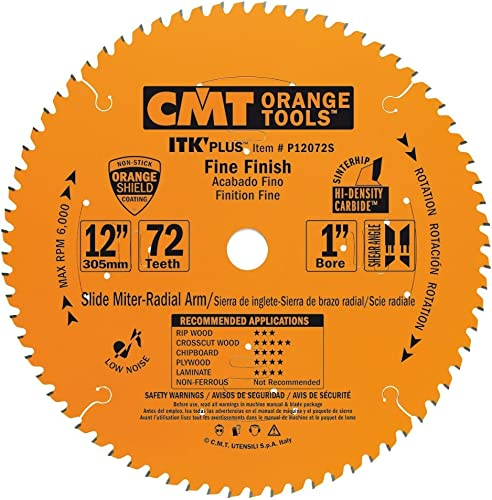 new arrival CMT P12072S ITK lowest Plus Finish Sliding Compound high quality Saw Blade, 12 x 72 Teeth, 10° ATB+Shear with 1-Inch bore online sale