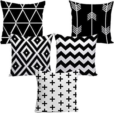 Dream Weaverz Decorative Cushion Cover/Throw Pillow Set of 5 - Abstract Design (16X16 Inch, Black, White)