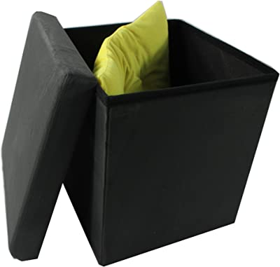 "Achim Home Furnishings OTSD15CC04 Collapsible Storage Ottoman, Charcoal Suede, 15"" X 15"""