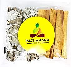 Pachamama Essentials Organic California White Sage (Salvia Apiana) & Palo Santo (Holly Wood) Smudge Bundle Kit (2 White sage Bundles 4