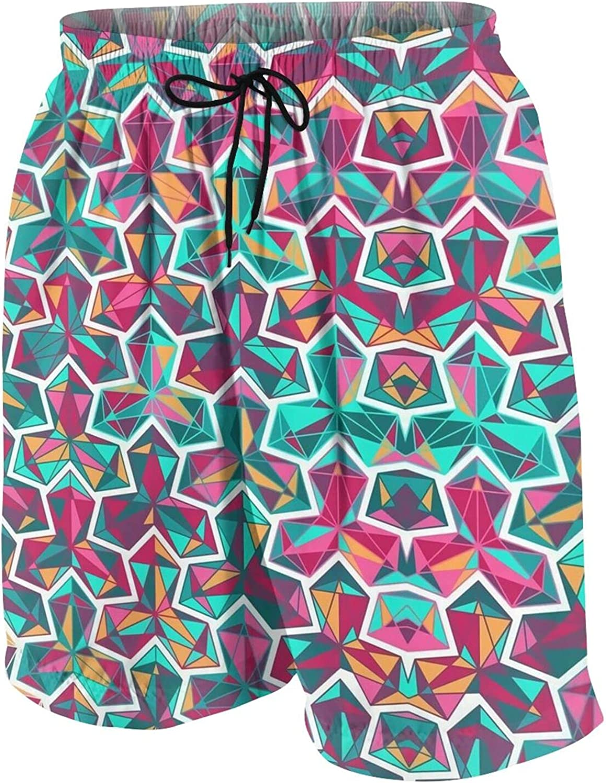 Kiwimat Boys Geometry Beach Shorts Quick Dry Beach Pants Funny Board Shorts Teen Swim Trunks