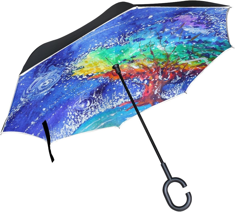 OREZI Rainbow TreeIngreened Umbrella Double Layer Reverse Umbrella Windproof UV Predection CShaped SelfStand Umbrella for Car Rain Outdoor Travel Woman Man