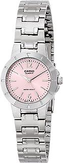 ساعة يد بسوار من الستانلس ستيل ومينا اسود للنساء من كاسيو