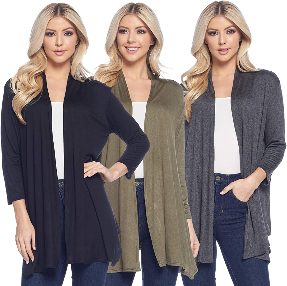 Isaac Liev Womens Cardigan Pack of 3 - Casual Lightweight 3/4th Sleeve Open Front Drape with Asymmetric Hem