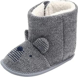 Infant Boy's Girl's Lightweight Cartoon Ears Winter Warm Snow Boots 0-15 Months,Soft Sole Fleece Inner Toddler Shoes