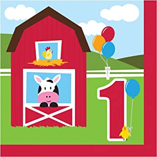 18-Count Paper Lunch Napkins, 1st Birthday Farmhouse Fun