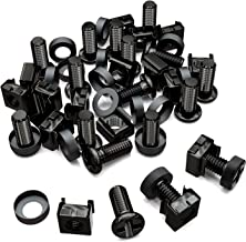 deleyCON 20x M6 Cage Nuts Screw Set for Network Cabinets - Patch Panel Racks Server Casing Housing 19-inch 10-inch Fitting Kit Steel - Black