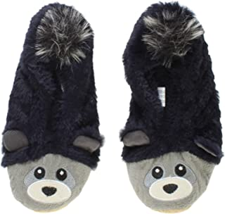 Ajvani Women's Elastic Fleece Lined Fur Bear Raccoon Face Grip Slippers Socks Size